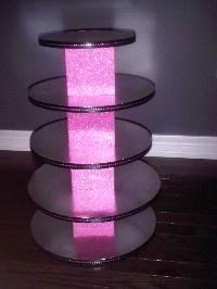 DIY cupcake tower- glowing marble-filled vases