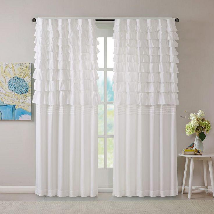 Intelligent Design Demi Ruched Curtain, White