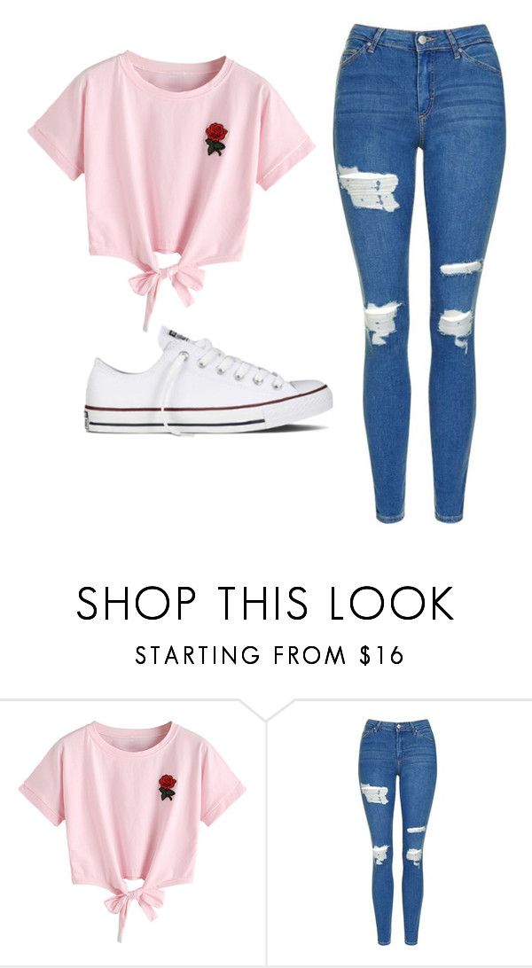 """Untitled #532"" by cuteskyiscute on Polyvore featuring WithChic, Topshop and Converse"