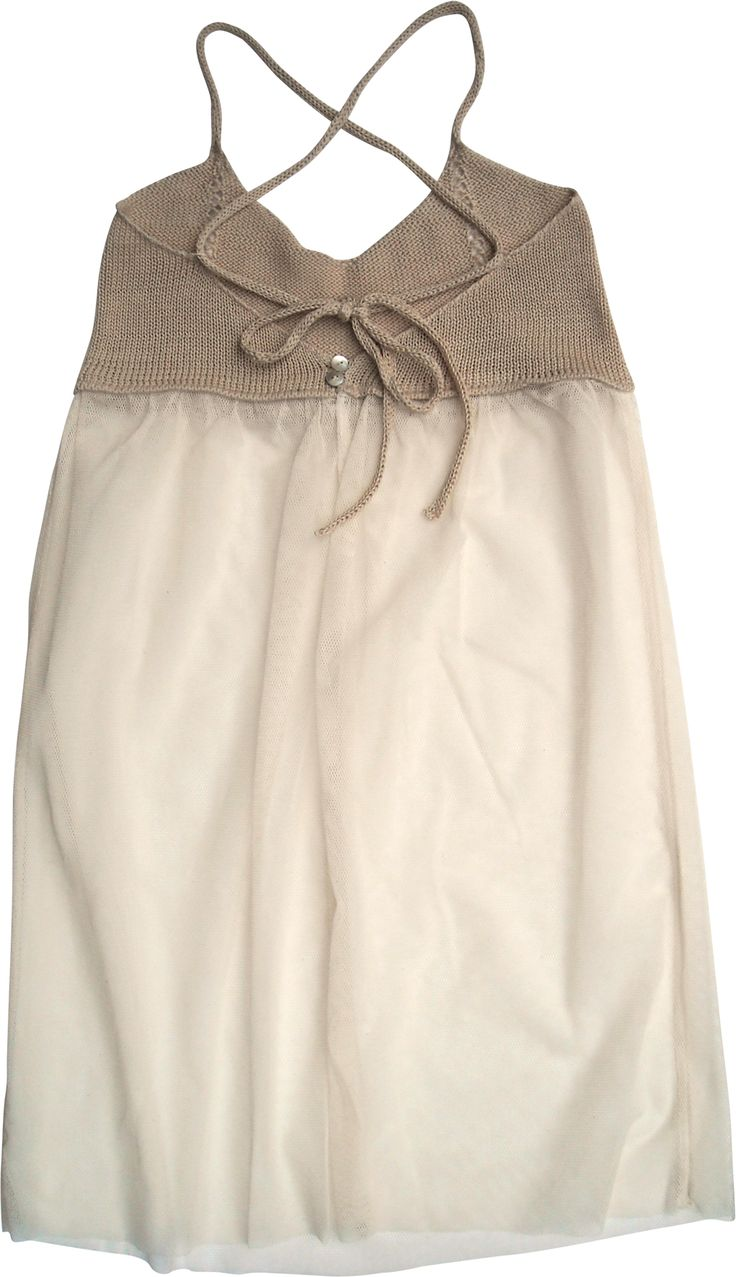 Reverse side of Tulle Dress. beige and natural color. 100% cotton