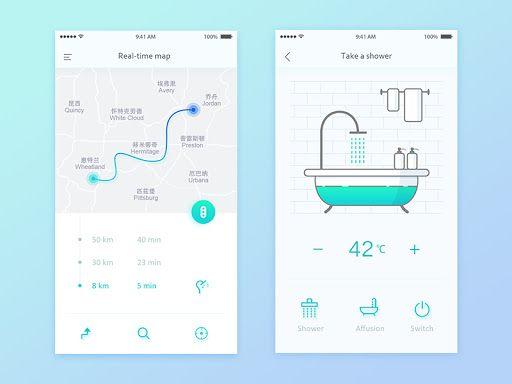 Smart home app UI.