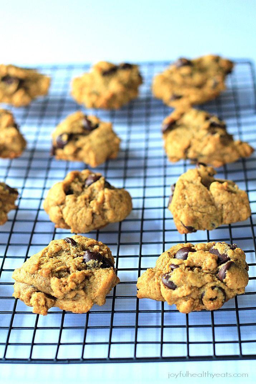 {Skinny} Pumpkin Chocolate Chip Cookies, made with coconut oi | www.joyfulhealthyeats.com #fall #pumpkin #dessert Sub GF flour + 3-4tsp gum