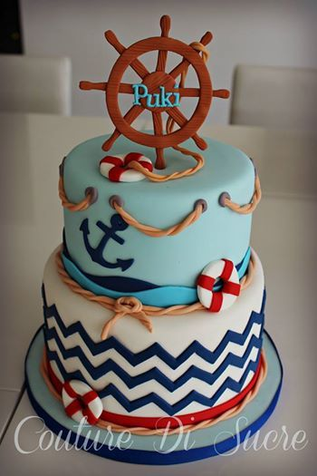 Red, Sea Blue  Navy Blue Chevron Nautical Cake (Puki)