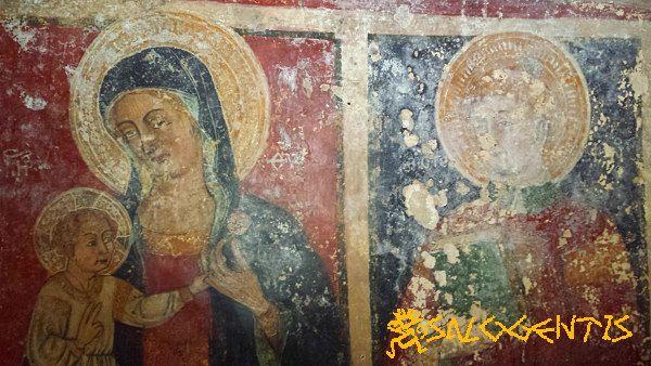 Cripta della Favana, Affrechi della  Vergine e Santo Stefano