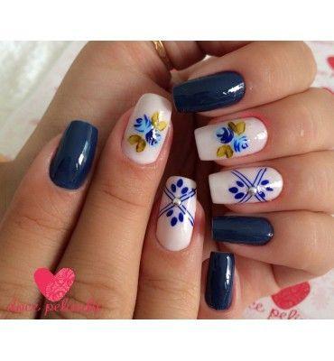 Películas ou Adesivos de Unhas Modelo Flor Azul Artesanal