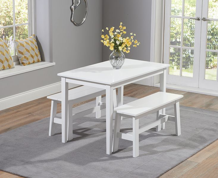 Buy The Chiltern 115cm White Dining Set With Benches At Oak Furniture  Superstore