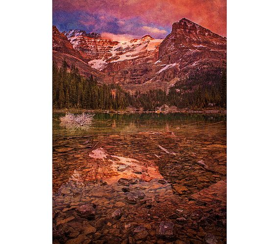 Mountain Photography - Vintage Decor, Rustic Texture, Landscape Image, Lake OHara, Pink, Sunset, Warm Colors, Nature, Wall Art, Artwork