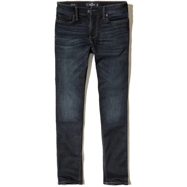 Hollister Super Skinny Jeans ($39) ❤ liked on Polyvore featuring men's fashion, men's clothing, men's jeans, dark wash, mens stretchy jeans, mens stretch skinny jeans, mens dark wash jeans, mens insulated jeans and mens skinny fit jeans