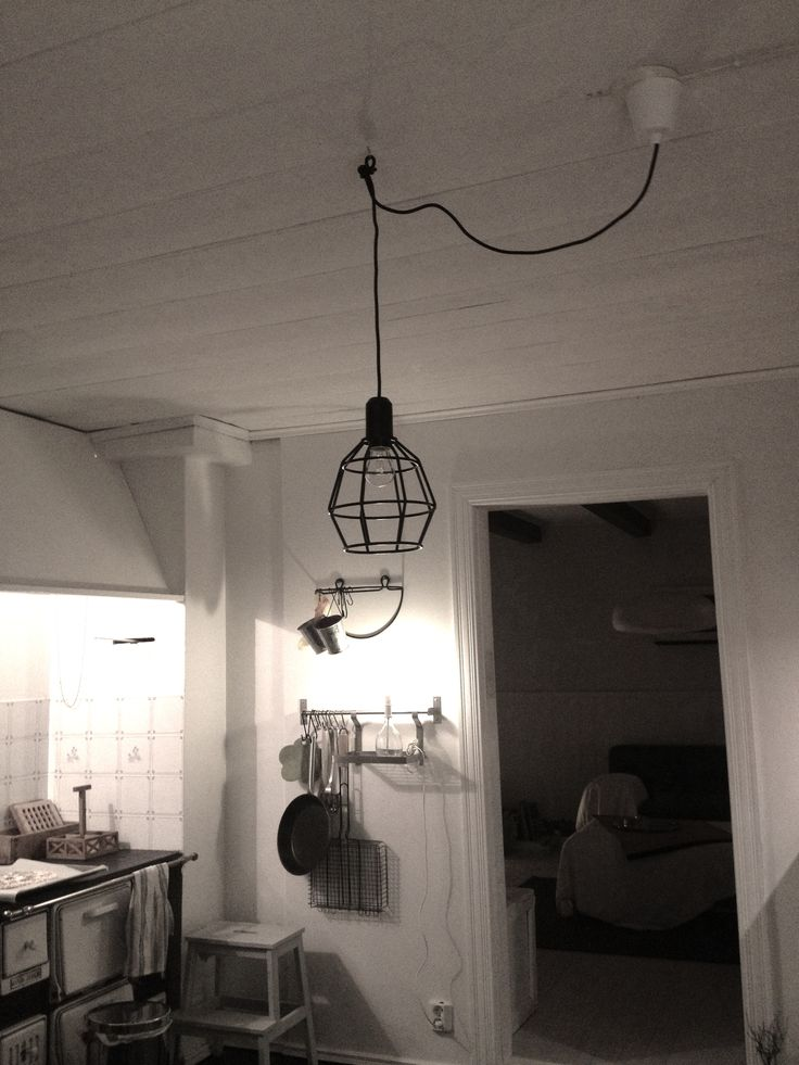 Ceiling original. Lamp from Clas Ohlson.