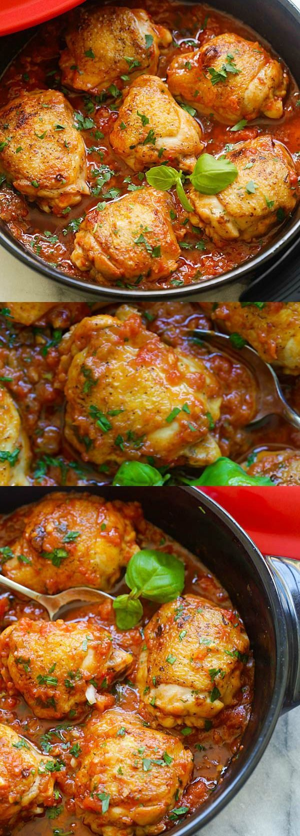Delicious one-pot braised chicken recipe with tomato and basil sauce. Amazing weeknight meal for the family | http://rasamalaysia.com