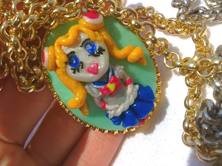sailor moon cameo made with polymer clay