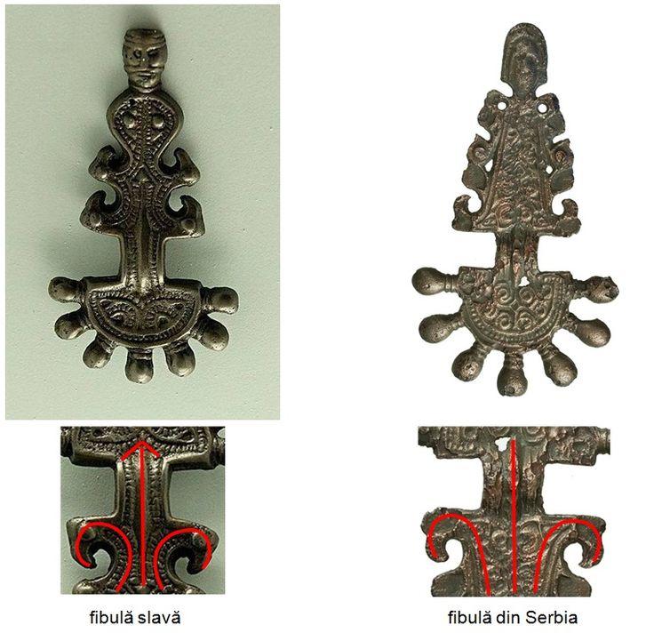 Fibulă atribuită slavilor şi o fibulă descoperită în Sebia.