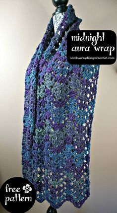 Midnight Aura Wrap - Free Crochet Pattern @OombawkaDesign #crochet #freepattern…