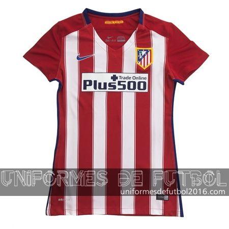 Venta de Jersey local para uniformes de futbol para mujeres Atletico de Madrid 2015-16