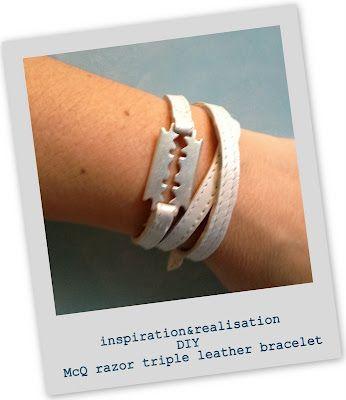 DIY McQ razor triple leather bracelet tutorial - so cute!: Bracelets Tutorials, Alexander Mcqueen, Diy Fashion, Mcqueen Razor, Triple Leather, Fashion Blog, Mcqueen Bracelets, Razor Triple, Leather Bracelets