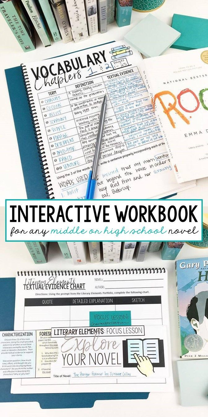 Interactive workbook for ANY novel   Grades 7-12   ELA   Middle and high school English   everything you need in one organized notebook