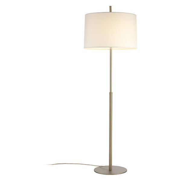 "3 WAY - Echo Floor Lamp $357- 3 way switch. 64"" h. Lamp shade 21"" diameter, 13"" h. Base 13"" diameter. 150W, 3-way bulb. 12' cord, clear plastic. Brushed nickel base."