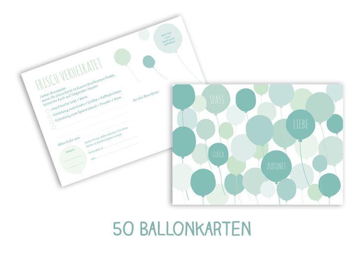 Weiteres - 50 Ballonflugkarten Hochzeitsaktion mint - ein Designerstück von…