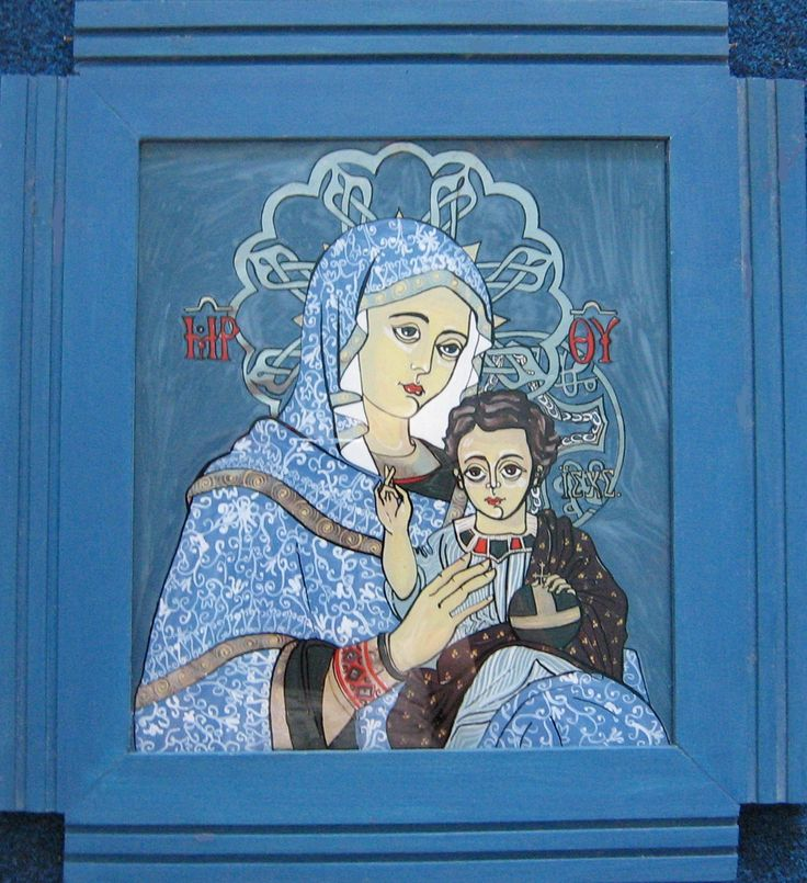 Fecioara cu pruncul, icoana pe sticla cu rama impanata lucrata manual, emulsie si tus, 42x41 cm
