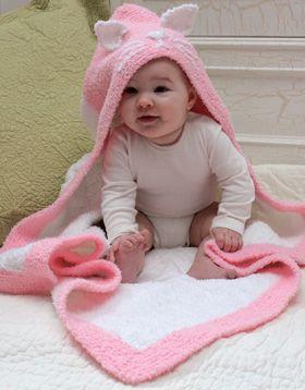 Strikket babytæppe med sød hætte