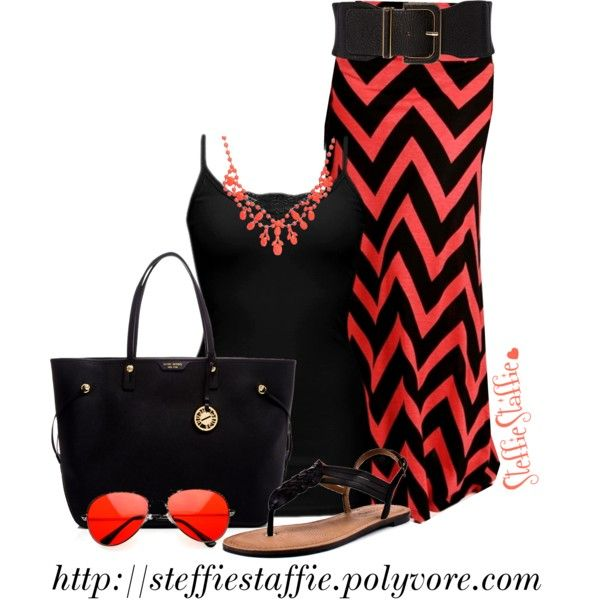 Coral, Black & Chevron by steffiestaffie on Polyvore
