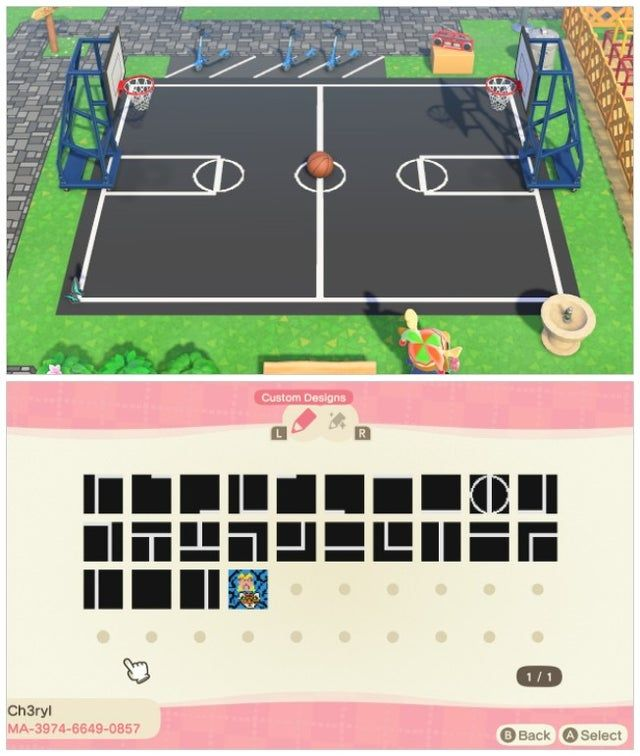 Basketball Court There S Also A Bonus Tiger King Design Acqr In 2020 Animal Crossing New Animal Crossing Animal Crossing Game