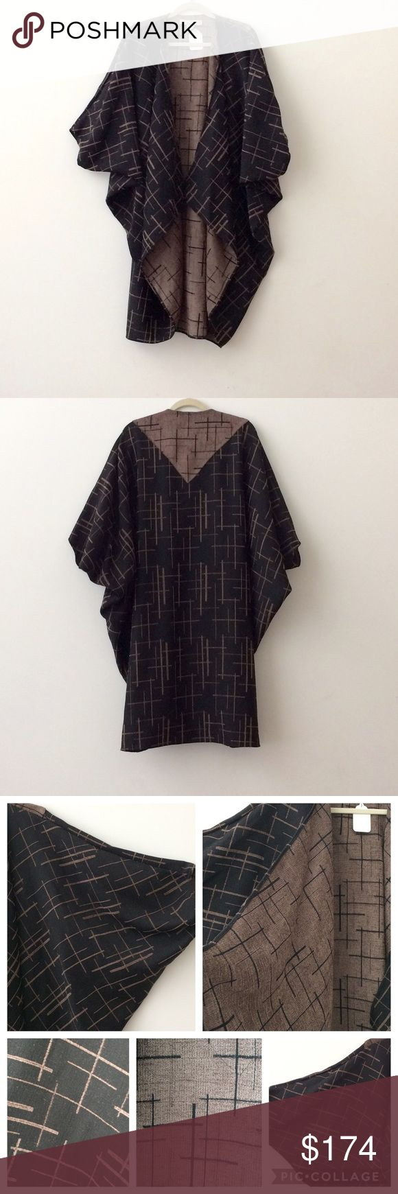 """🌺NEW LISTING De La Mer Cocoon Cape/Jacket 🌺 New w/tags. Never worn. Beautiful & elegant print cape from De La Mer in black/chocolate. One size. Imported Fabric (feels like a cotton blend although not sure). It measures about 42"""" from back running down center.   Great piece to add to your wardrobe!   Can share more photos.   Open to offers.   Thank you. De La Mer 1981 Jackets & Coats Capes"""