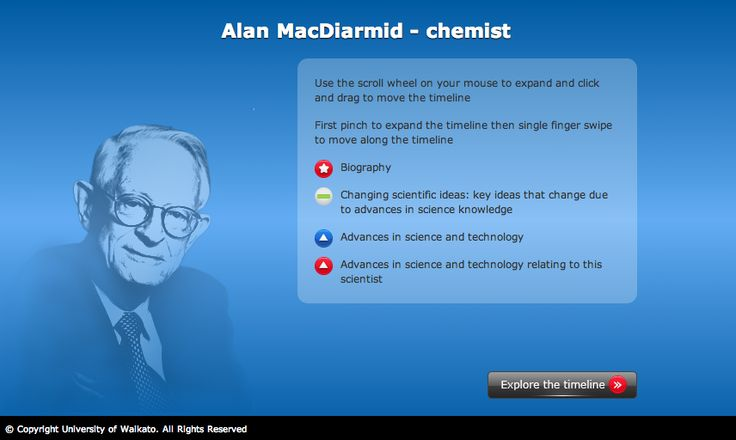 Explore the life and scientific work of Alan MacDiarmid. Alan was born in NZ and later went on to win the Nobel prize for chemistry.