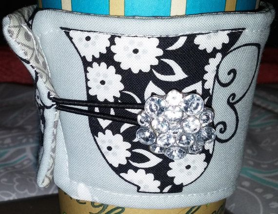 Coffee Cozy Victorian Black & White Tea Cups and by QuiltedCharms