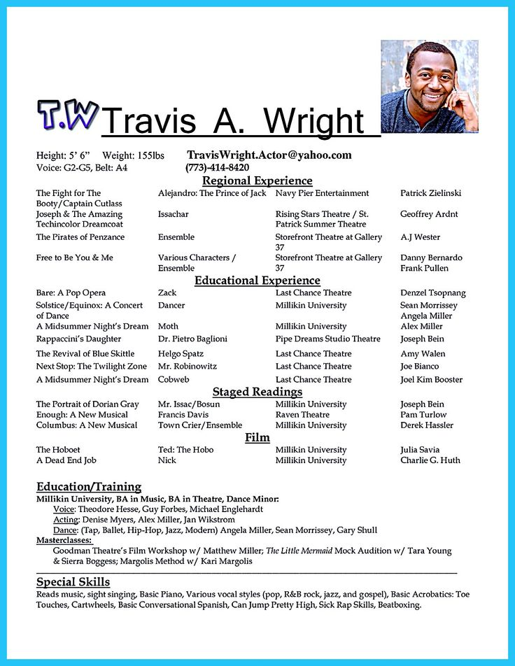 594 best resume samples images on pinterest resume templates make a resume and artist resume - Child Actor Resume Format