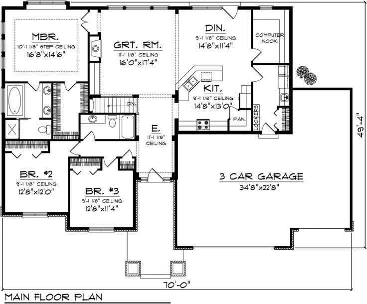 Craftsman Style House Plan - 3 Beds 2 Baths 2032 Sq/Ft Plan #70-1097 Floor Plan - Main Floor Plan - Houseplans.com