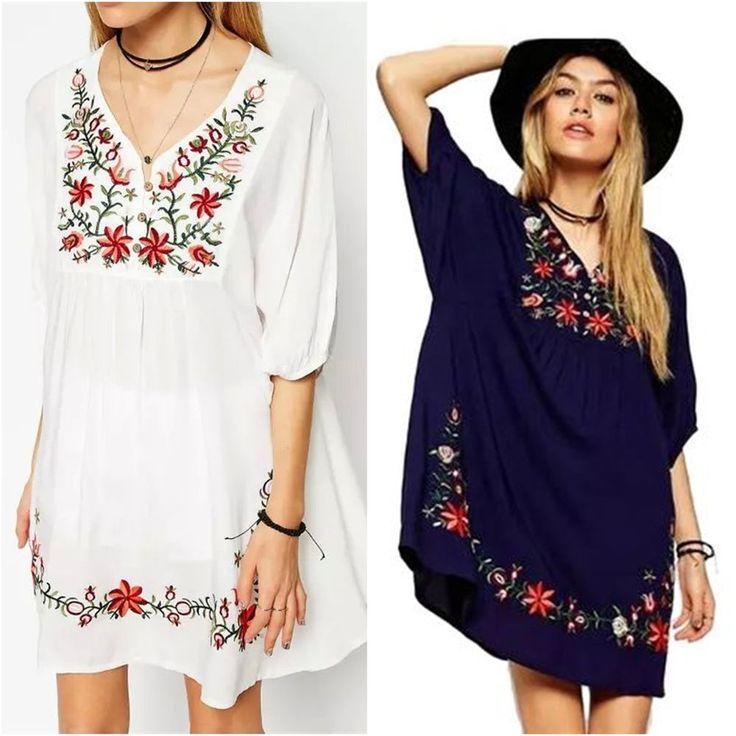 Hippie Long Tunika Sommer Kleid Folklore Stickerei Floral Blogger Stickereikleid in Kleidung & Accessoires, Damenmode, Kleider | eBay!