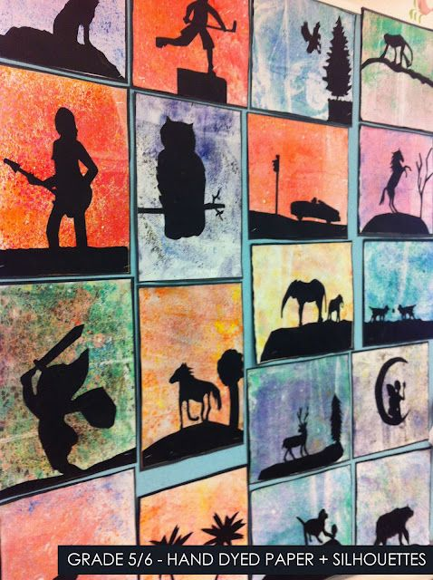 Hand dyed paper with silhouettes - grade 5/6 (could do simpler shapes for younger grades)