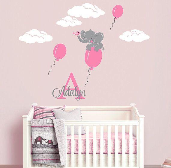 Flying Elephant Custom Name Personalized Initial Wall Decal Sticker for Nursery, Girl's Room or Playroom, Nursery Monogram