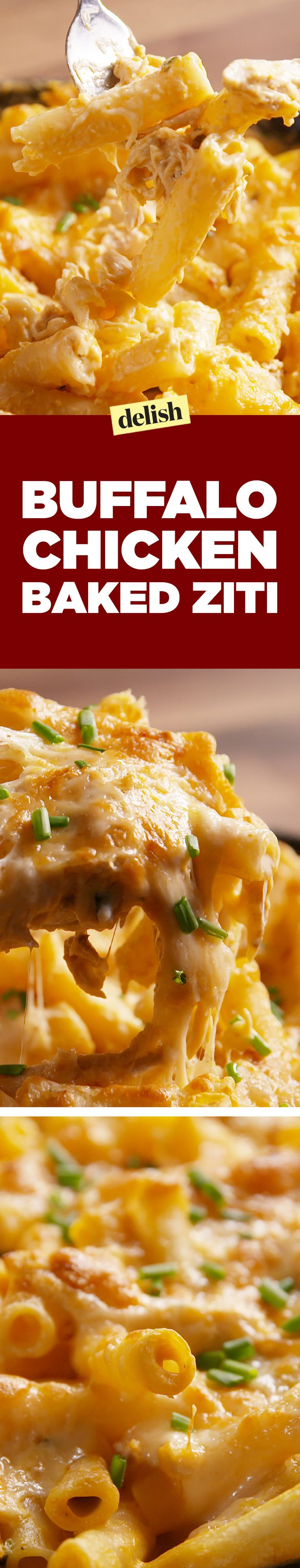 Buffalo Baked Ziti is our latest buff chick obsession. Get the recipe on Delish.com.
