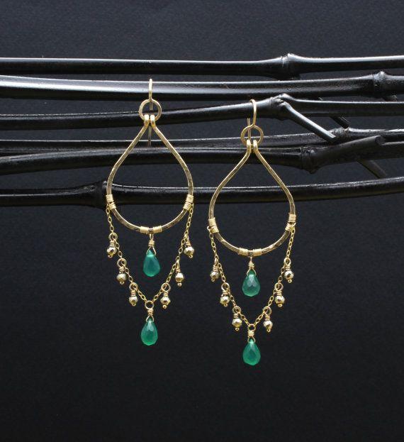 Gold Onyx Chandelier Earrings/Forest Goddess by TheGemGypsy
