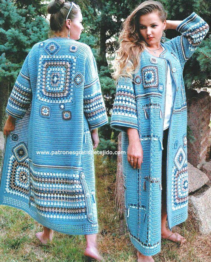 Sacón tejido a crochet con punto varetas y cuadros de abuelita