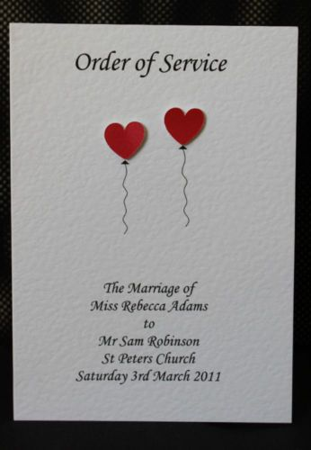 10 Handmade Personalised Order Of Service Front Covers 23