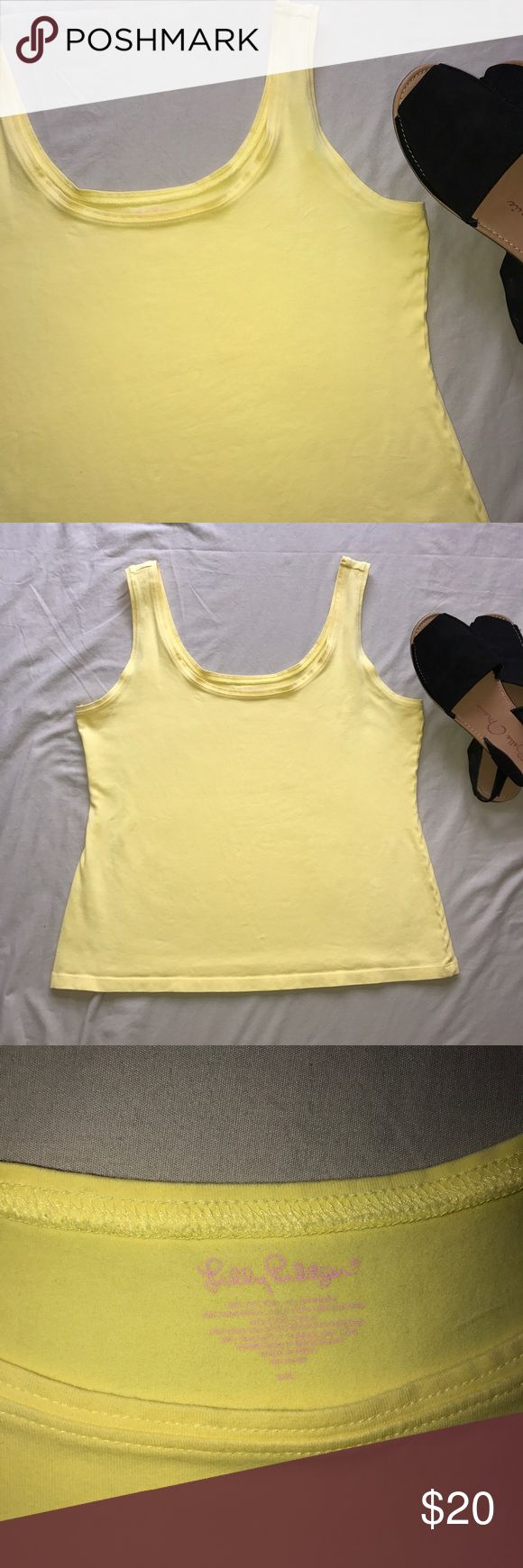 Lilly Pulitzer Yellow  Tank Top Size Large Lilly Pulitzer Yellow Tank top   Form fitting and perfect for summer  In great used condition with no visible signs of wear or tear (see pictures of item)   Comes from a smoke free home   ✨Offers Welcome✨ 💕Bundles = 15% off and a free gift! 💕 Sorry no trades Lilly Pulitzer Tops Tank Tops