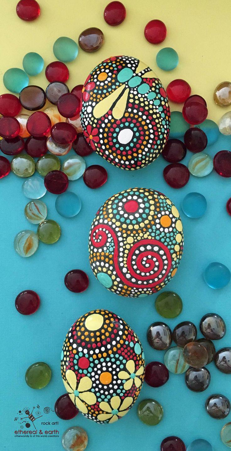 Hand Painted Rocks - Rock Art - Painted Stones - Dragonfly Rock Art - Mandala…