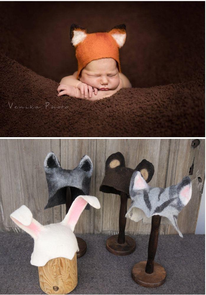Animal hats for newborn photography.  #filcalki #newbornphotos #babyphotosession #babyhat #littlefox #photostudio #newbornphotoprop #animalhats #infantphotography #cutebaby  #feltedhat #etsy #polishhandmade #poletsy #VenikaPhoto
