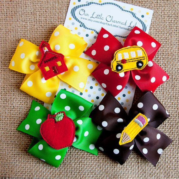Back To School Hair Bow Back To School by OurLittleCharmedLife