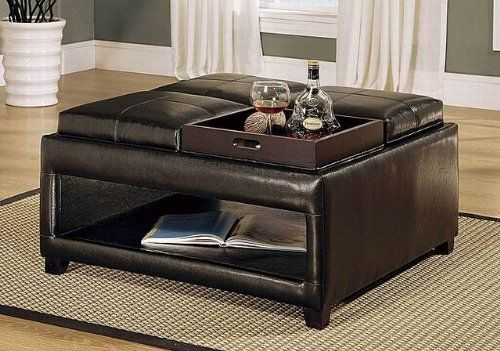 Brown ottoman coffee table features four flip-top cushions with individual trays, plus lower open storage surface, and foam stuffed tufted leather surface.