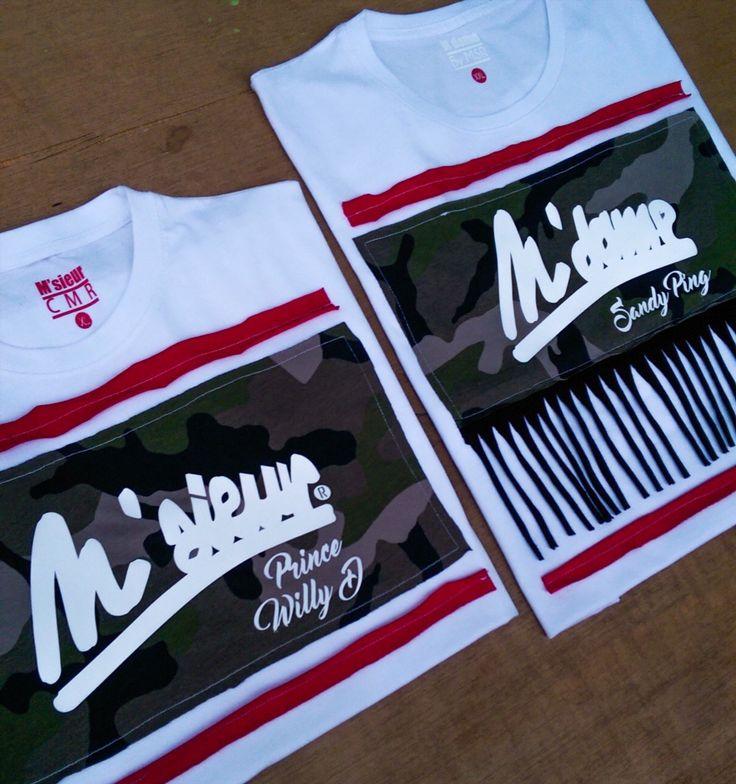 M'sieur and M'dame t-shirts pour couple à motifs camouflage et à franges.