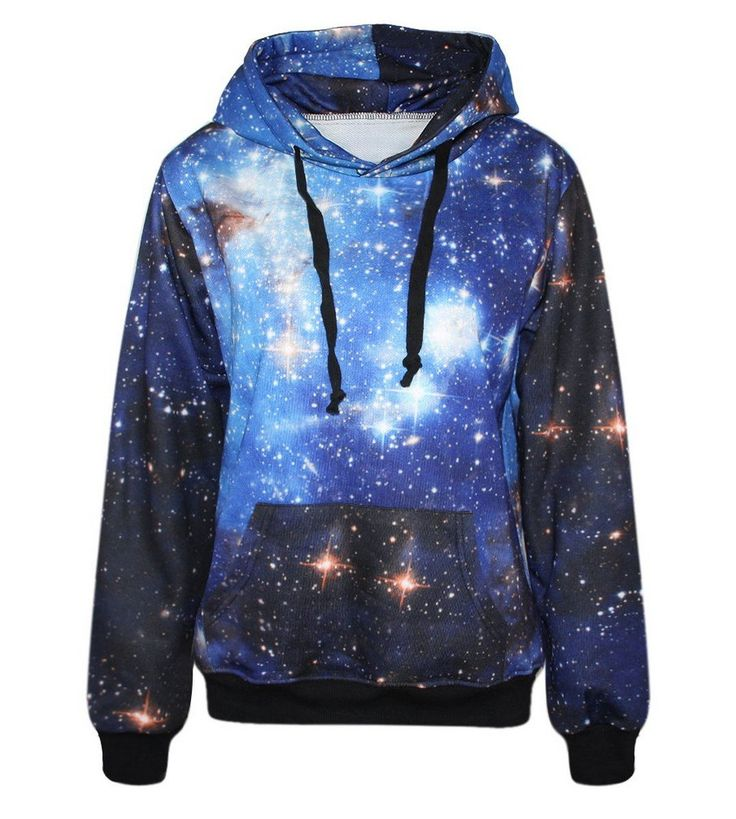 Lovelife' Blue Galaxy Print Pocket Long Sleeve Jacket Hoodies Sweatshirt: Amazon.co.uk: Clothing