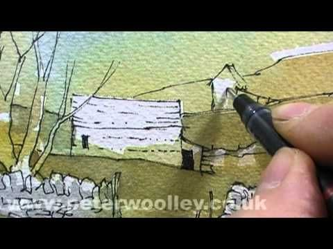 Landscape in Line and Wash by Peter Woolley (Trailer) - YouTube