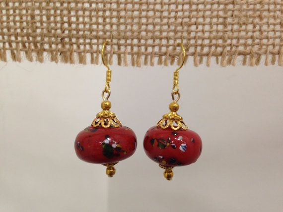 Red Clay Drop Round Earrings by SCBoutique123 on Etsy
