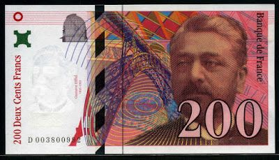 France Currency 200 French Francs Gustave Eiffel banknote of 1995, issued by the Bank of France - Banque de France.