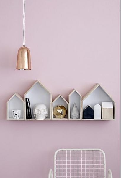 Bloomingville Display serie 5 huisjes hout vineer met witte binnenkant +/- 105cm - wonenmetlef.nl