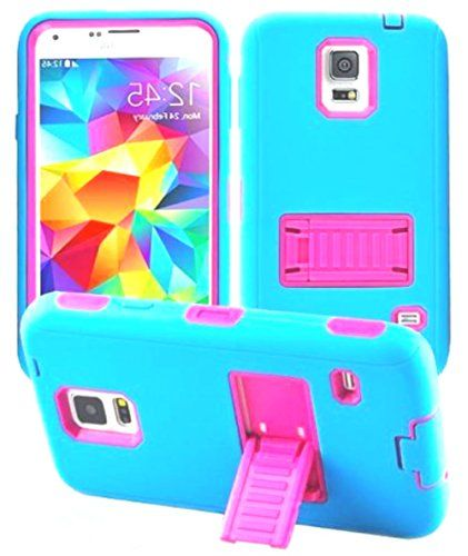 """myLife Three Layer Shockproof """"Built In Screen Protector"""" Security Armor Case for Galaxy S5 by Samsung {Aquarium Blue + Foxy Pink With Kickstand """"Protective Tuff Shell Design"""" Hybrid Triple Piece BOX Protector Shield with Rubberized Gel} myLife Brand Products http://www.amazon.com/dp/B00QSJ8YLY/ref=cm_sw_r_pi_dp_wT-Xub0ADJXZY"""